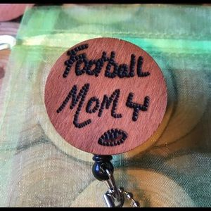 Football mom badge reel